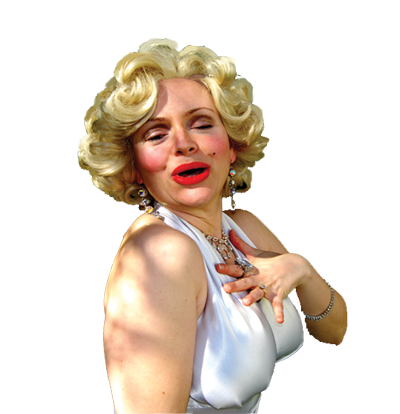 <div class='curved_float' style='background-color:white;padding:10px;width:212px'><div class='paragraph_black' style='font-size:16px;font-weight: bold'>Marilyn Monroe</div><div class='paragraph_black' style='font-size:11px'>Dressed in the white dress from the movie, 'The Seven Year Itch', the sexiest woman of the century sings 'Diamonds Are a Girl�s Best Friend', and the Happy Birthday song as she sang it to JFK. She makes jokes using personal information about the honoree and has him take a garter off her leg as a souvenir!</div></div>